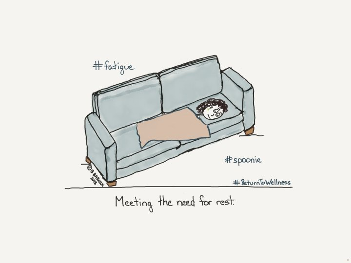 A drawing, by Barbara, of a woman resting on the sofa, trying to recover from fatigue