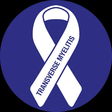 Transverse Myelitis Awareness Ribbon. A white ribbon with Transverse Myelitis written on the right side
