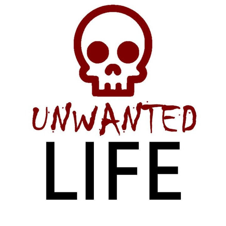 Unwated Life's logo. A skull outlined in red. The word 'unwanted' is in red, the word 'life' is in black