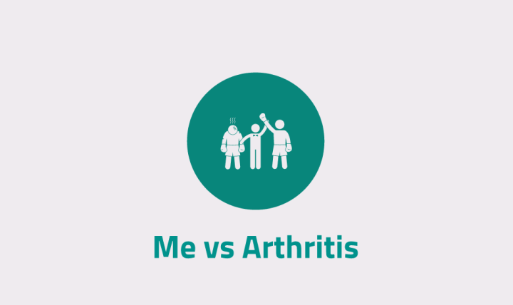 The Me vs Arthritis logo. A green/blue coloured circle, with characters portraying a fight, with the referee lifting one person's arm up in victory, while the other person is defeated. This is referencing the battle with Arthritis