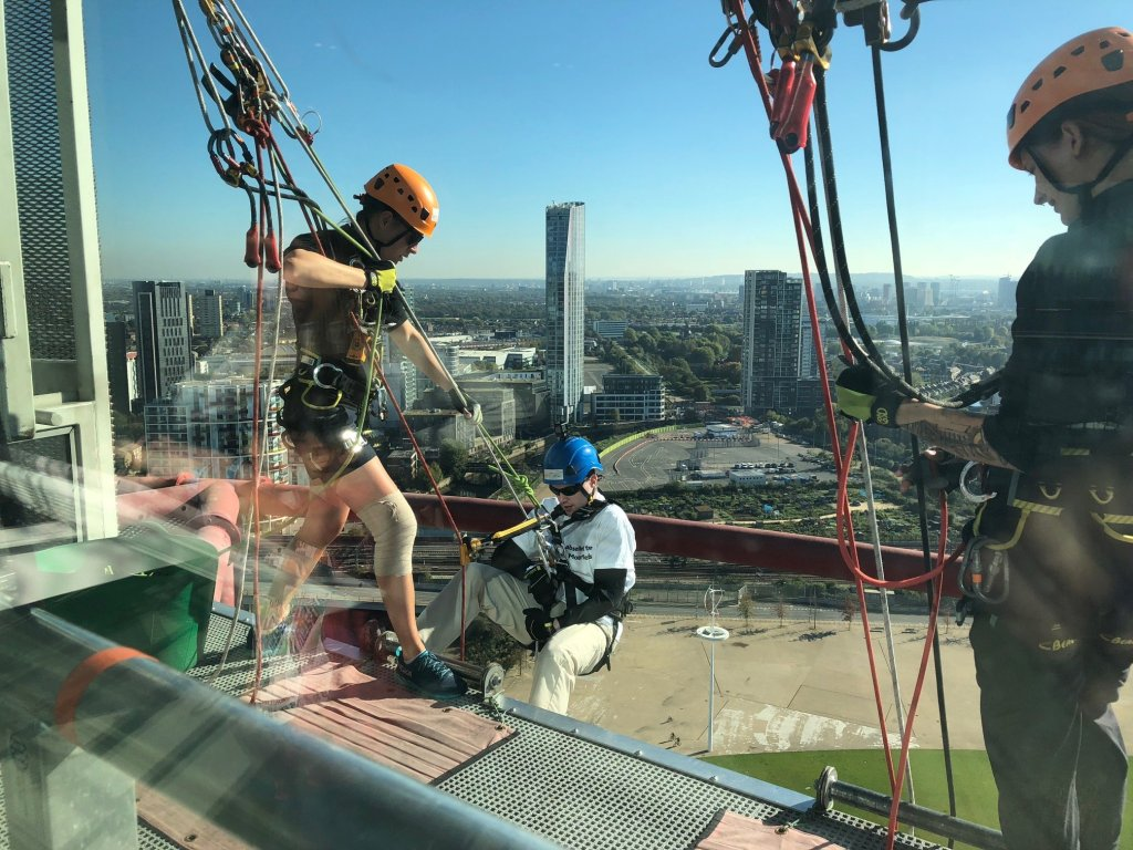 Glen is preparing for his charity abseil. He is on the Orbit Tower, in the Olympic Park, in Stratford London.