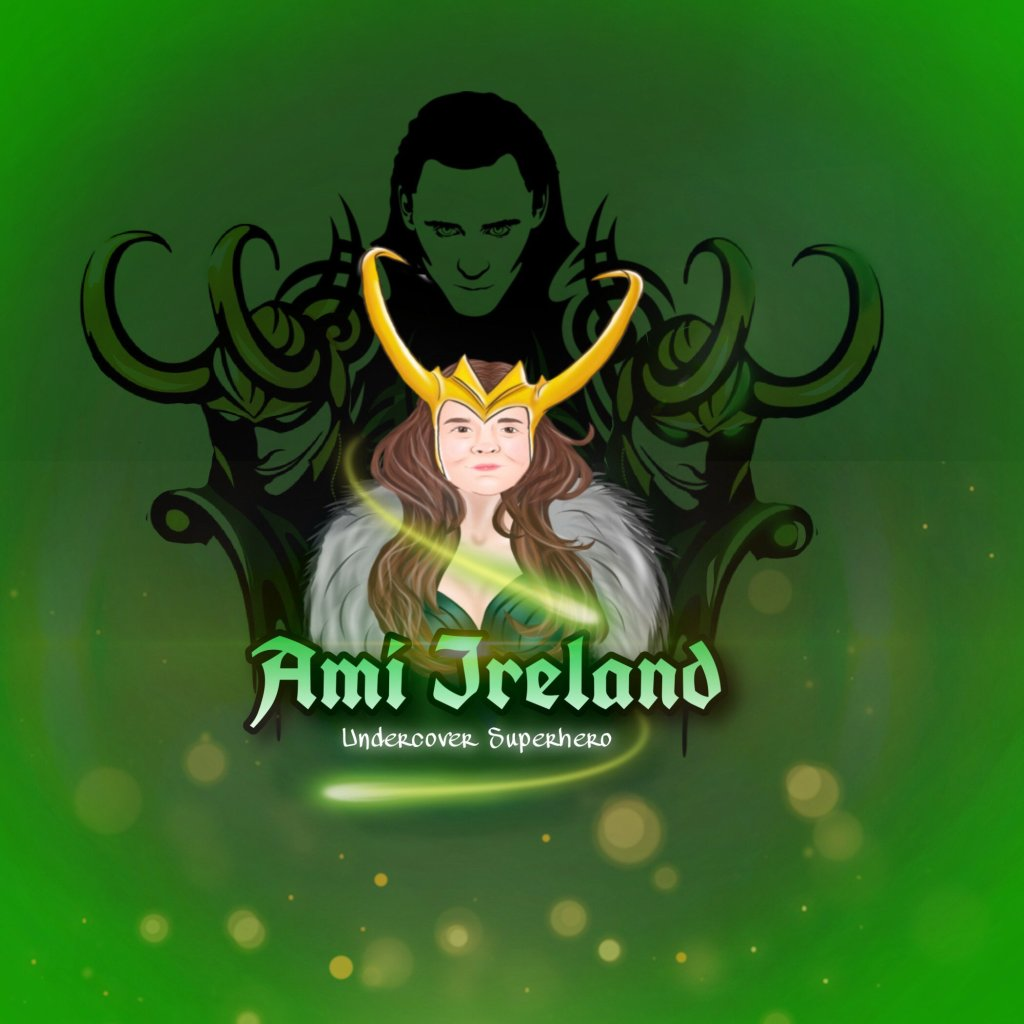 Ami's new logo - A headshot of Ami wearing Loki's helmet, black costume and a sillver/grey boa. Ami's long brown hair is flowing down. Above Ami is Loki designed in a black shadowy type effect, with Loki reflections each side of Ami. The wording beneath Ami reads Ami Ireland, Undercover Superhero. This is all cartoon styled. The background is emerald green with a gold wisp effect.