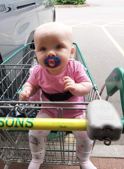 Daisy sitting in the little kid's seat in a big trolley
